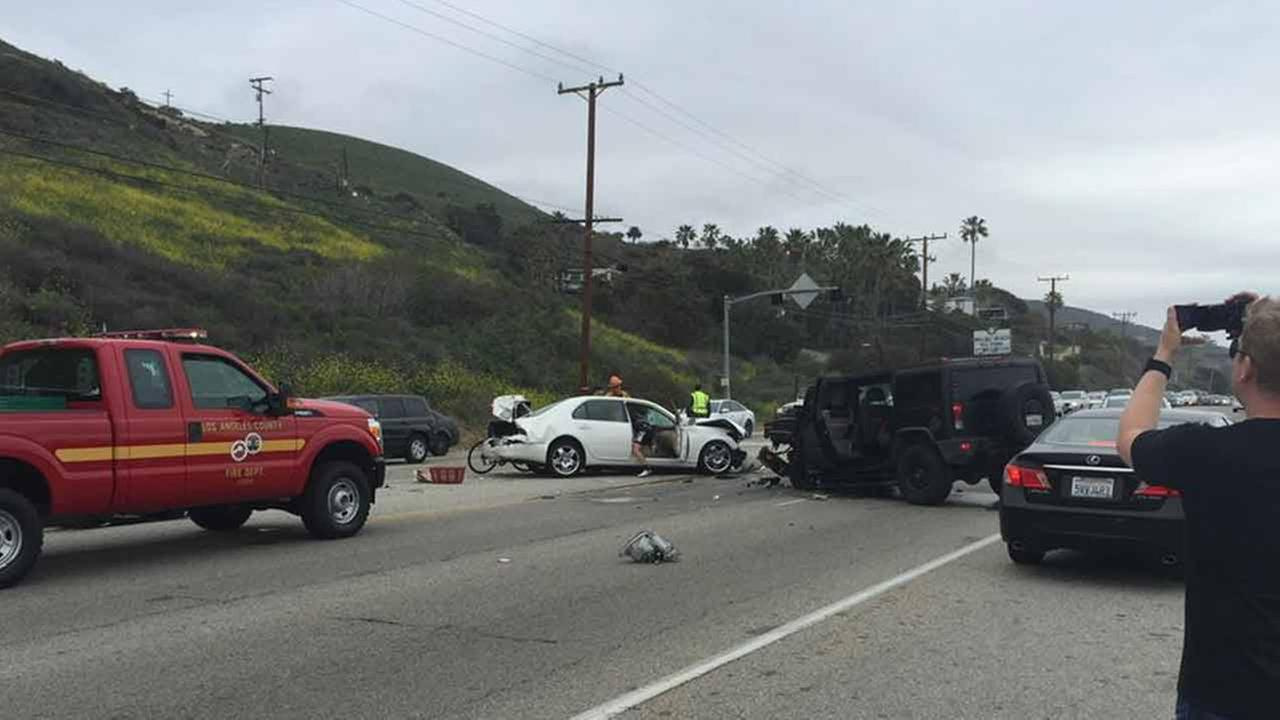 This photo from Twitter user AlohaKendama shows the scene of a fatal car crash in Malibu on Saturday, Feb. 7, 2015.