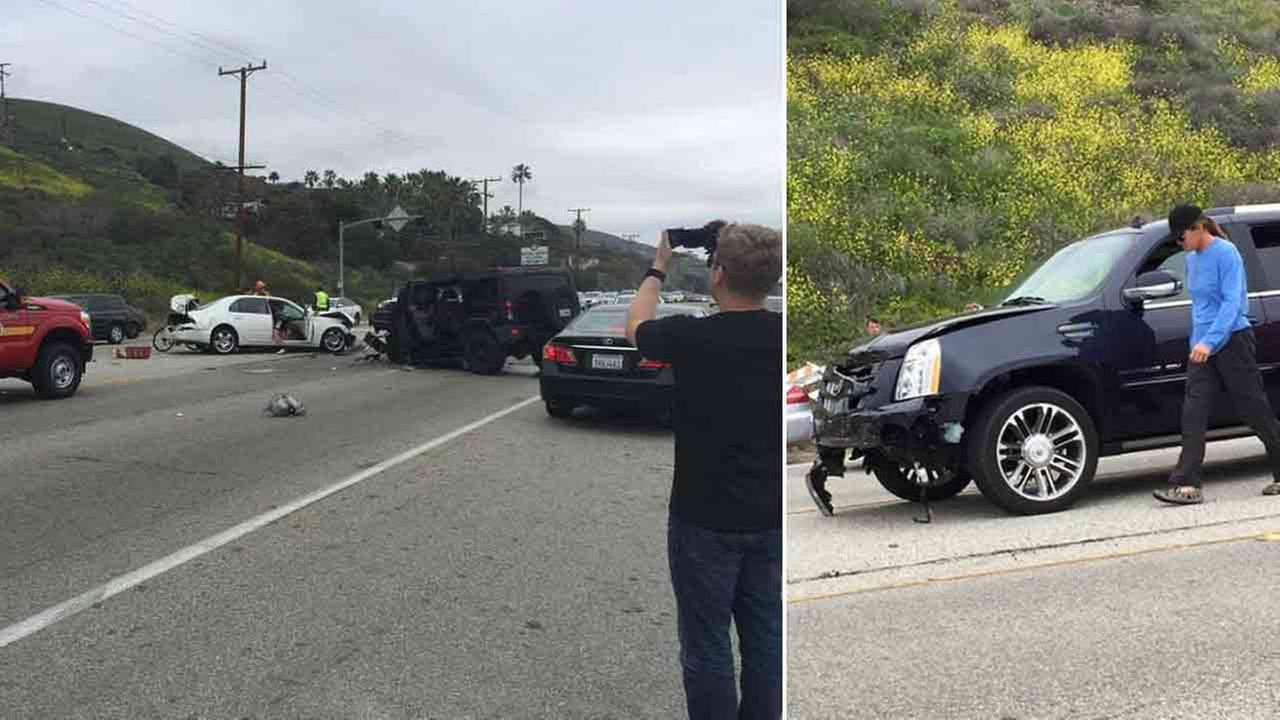 Los Angeles County Sheriffs deputies investigate the scene of a collision involving three vehicles in Malibu, Calif. on Saturday, Feb. 7, 2015.