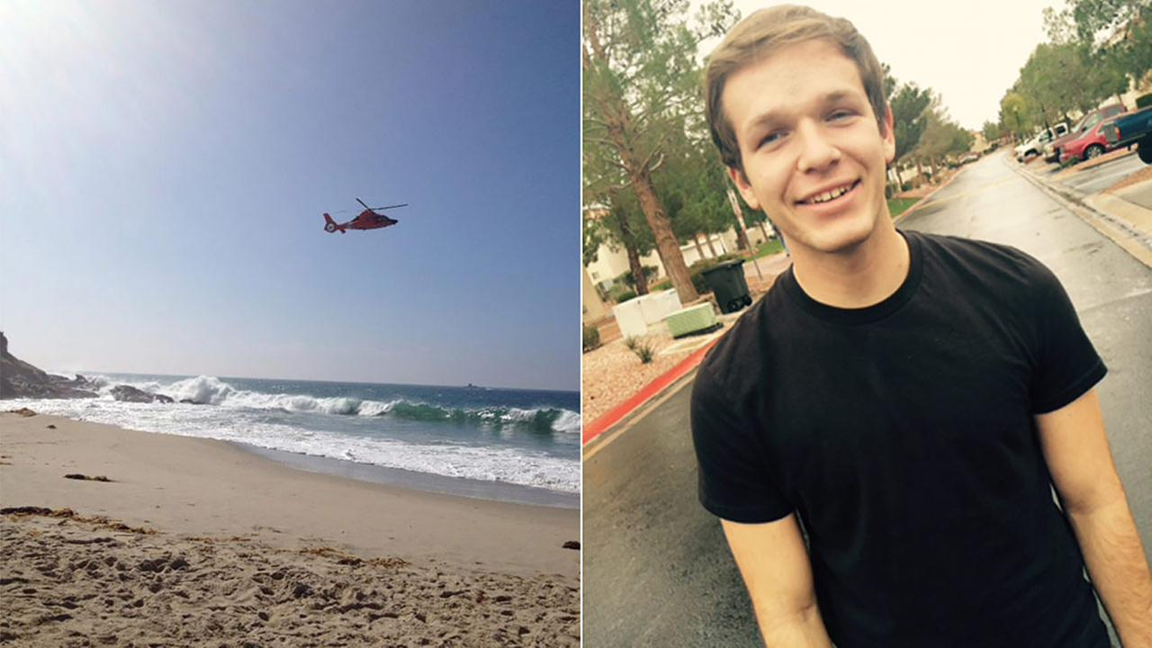 A helicopter searches for 18-year-old swimmer Anthony Parnell, who went missing in Laguna Beach on Sunday, Feb. 8, 2015.