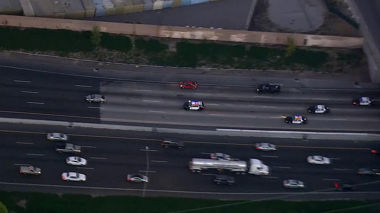 LAPD chase a stolen vehicle suspect on the eastbound 60 Freeway near Montebello on Monday, Feb. 9, 2015.