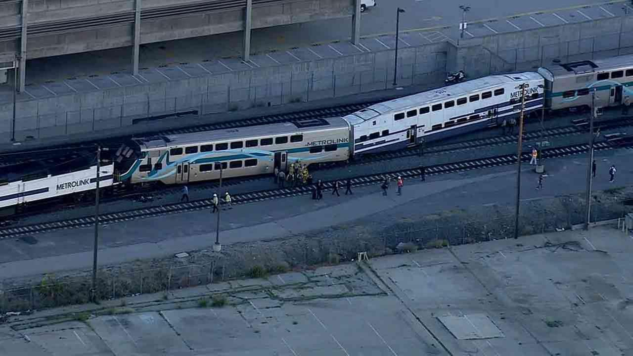 Metrolink train 906 derailed near Vignes and Bauchet streets in downtown Los Angeles Tuesday, Feb. 10, 2015.