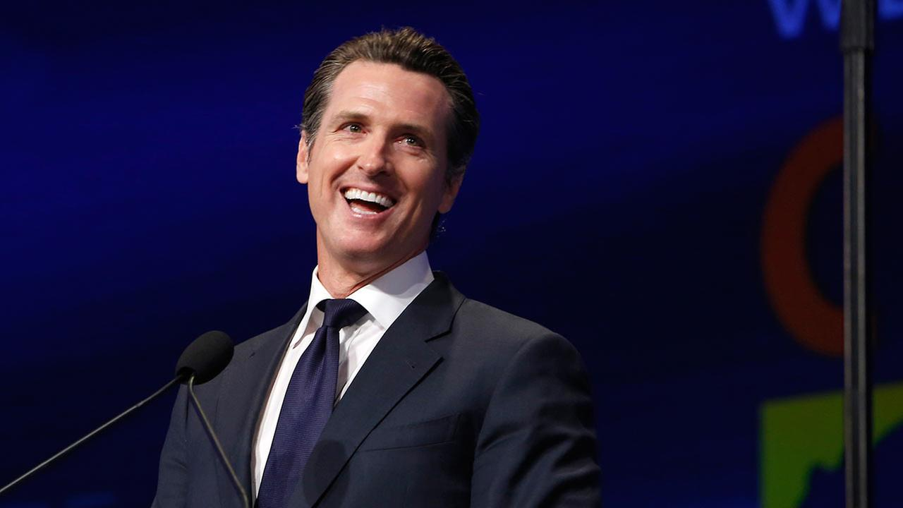 In this Friday, April 12, 2013 photo, Lt. Gov. Gavin Newsom speaks at the 2013 Democratic State Convention in Sacramento, California.