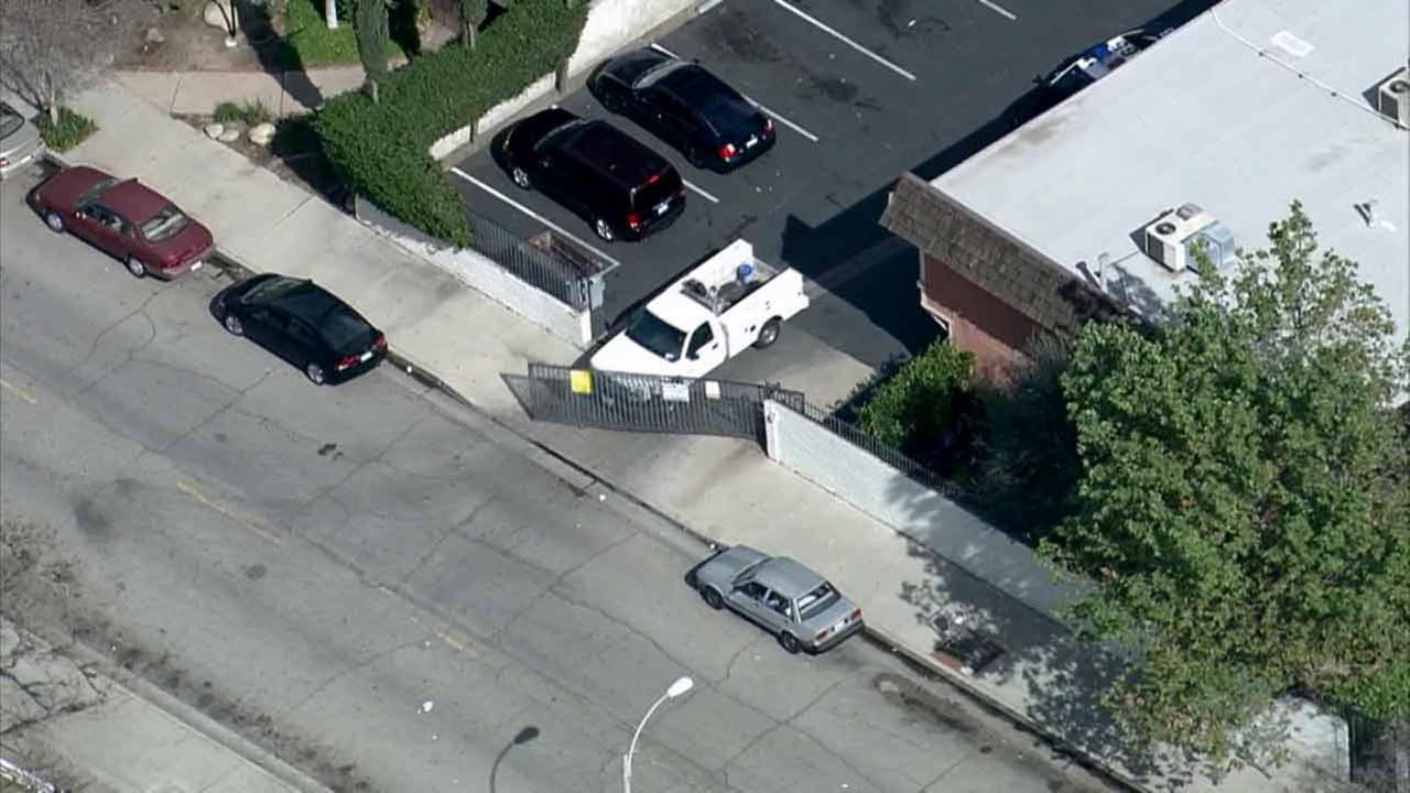 A chase suspect rams a vehicle through a chain gate on Wednesday, Feb. 11, 2015.KABC