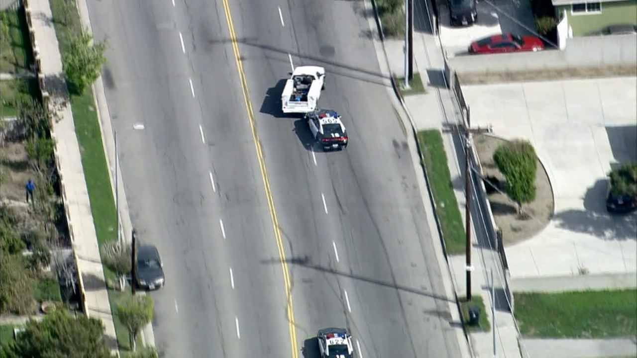 LAPD tries a PIT maneuver on a chase suspect on Wednesday, Feb. 11, 2015.KABC