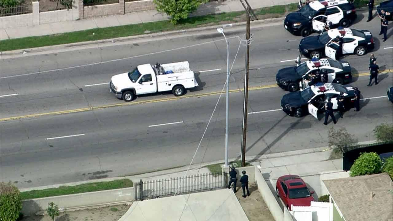 Law enforcement officers surround a chase suspect on Wednesday, Feb. 11, 2015.KABC