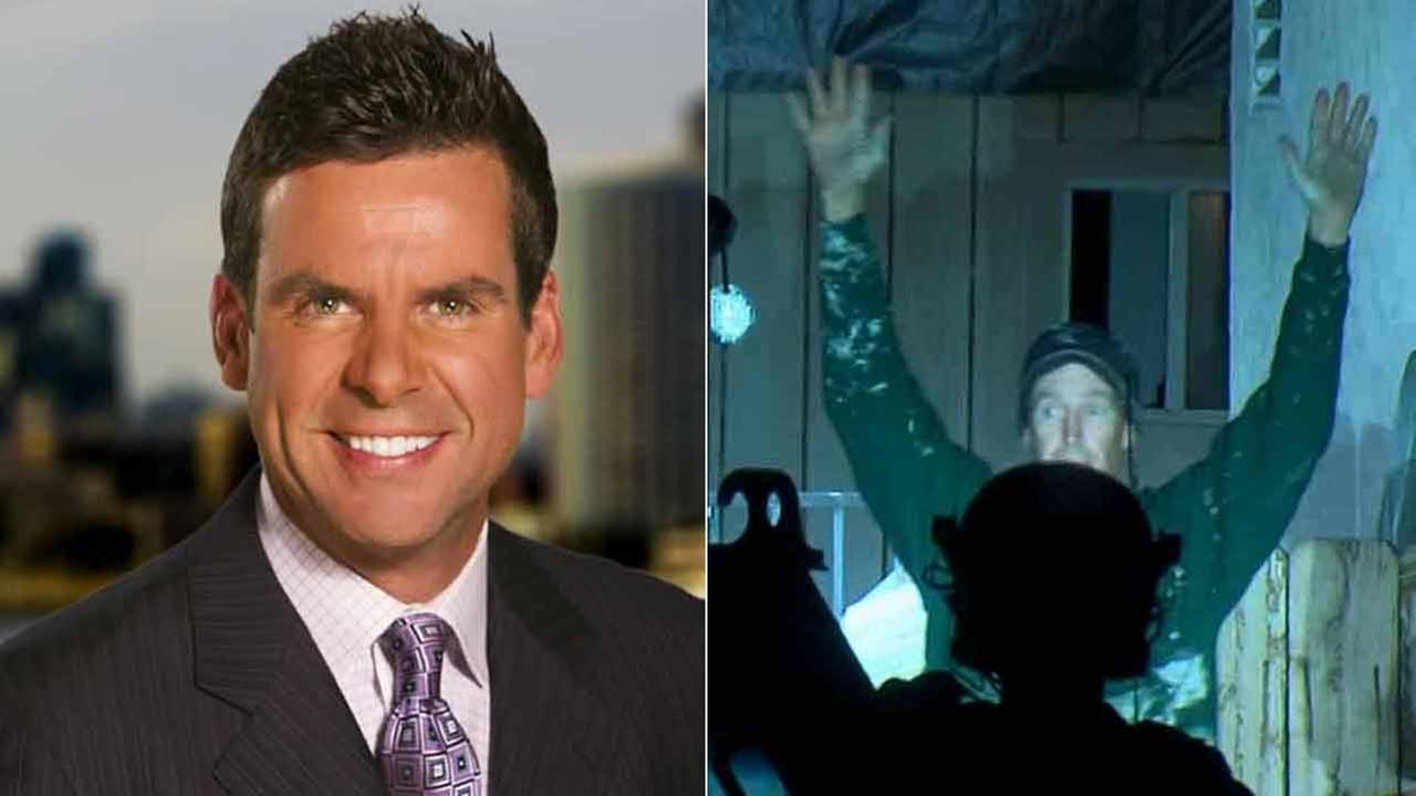 (Right) CBS 8 sports director Kyle Kraska is shown in a file image. (Left) Mike Montana surrenders to SWAT officers in El Cajon on Tuesday, Feb. 10, 2014.
