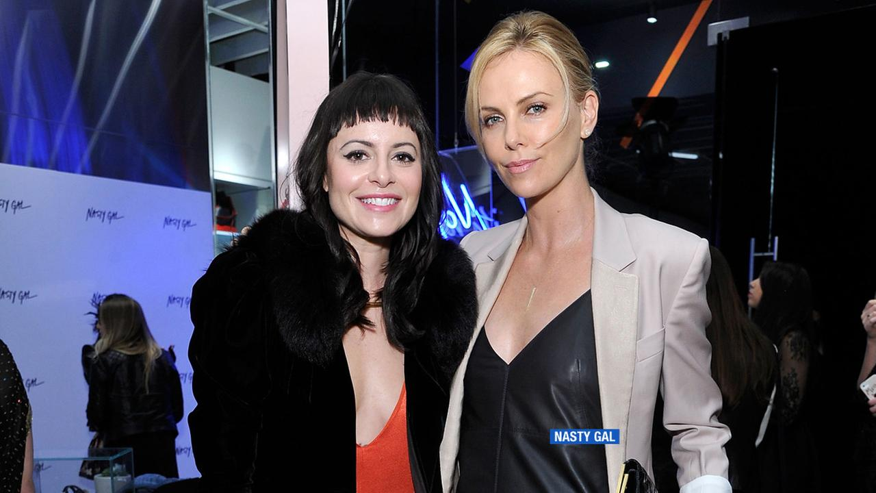 Nasty Gal founder Sophia Amoruso with actress Charlize Theron.