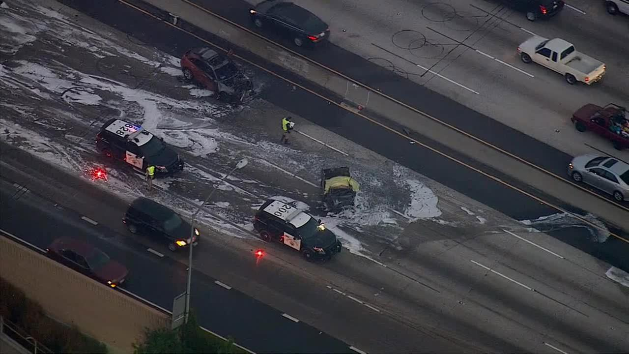 A fiery crash occurred on the eastbound 60 Freeway at Atlantic Boulevard in Monterey Park on Monday, Feb. 16, 2015.