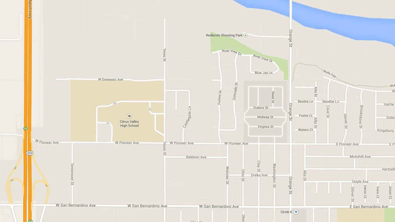 This Google Maps shows where shots were heard fired near Citrus Valley High School on Wednesday, Feb. 18, 2015.