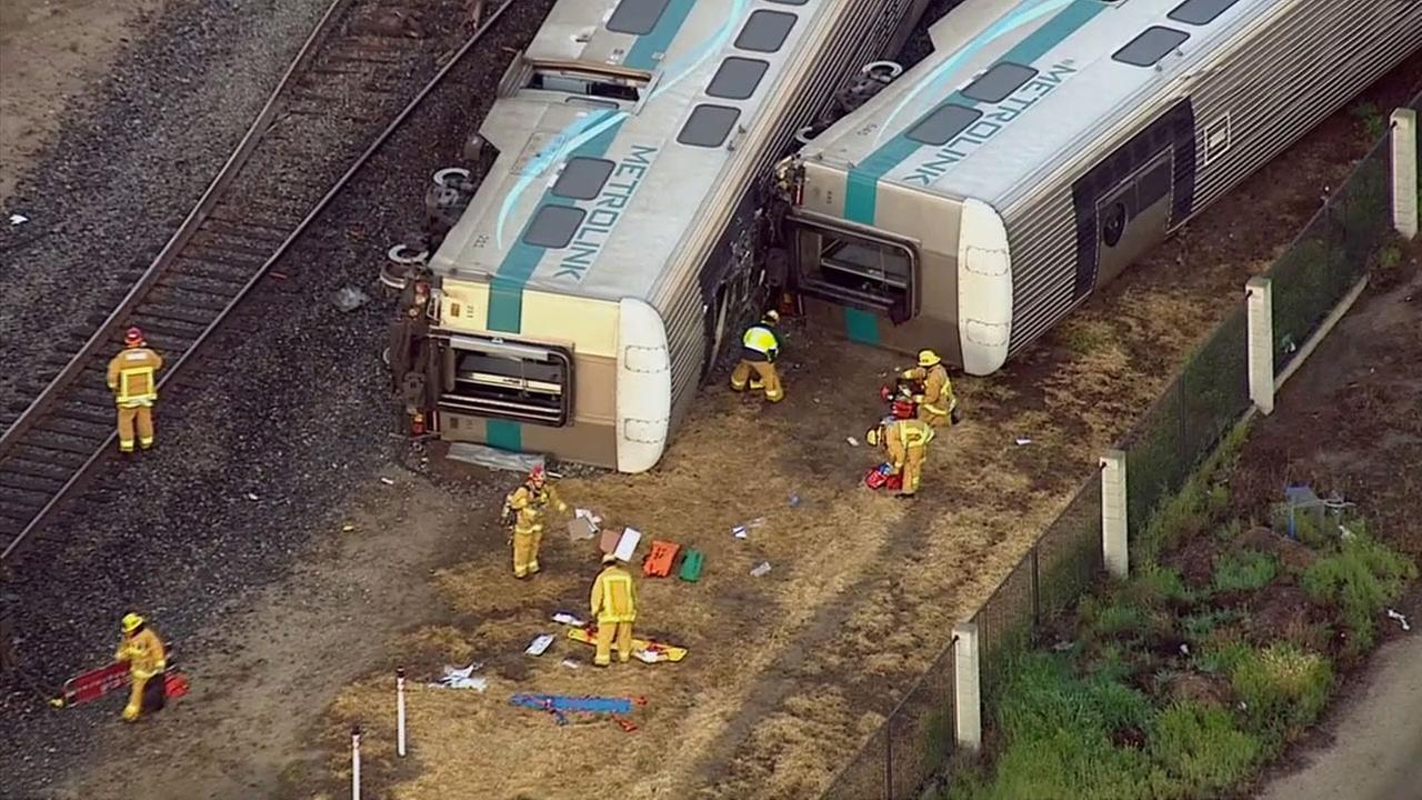 A Metrolink train struck a vehicle in Oxnard, causing four train cars to derail on Tuesday, Feb. 24, 2015.