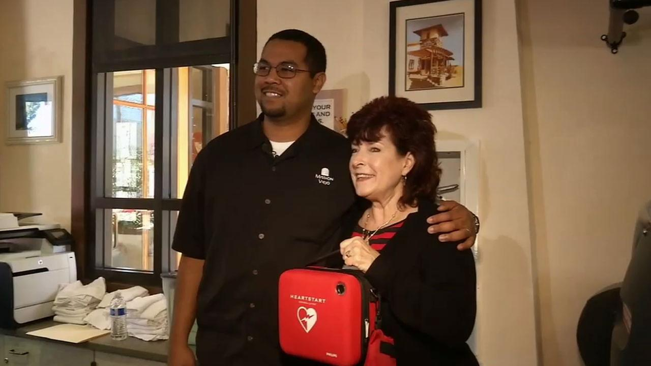 A man went into full cardiac arrest while running on the treadmill at a gym in Mission Viejo, but the quick work of two Good Samaritans helped save his life.