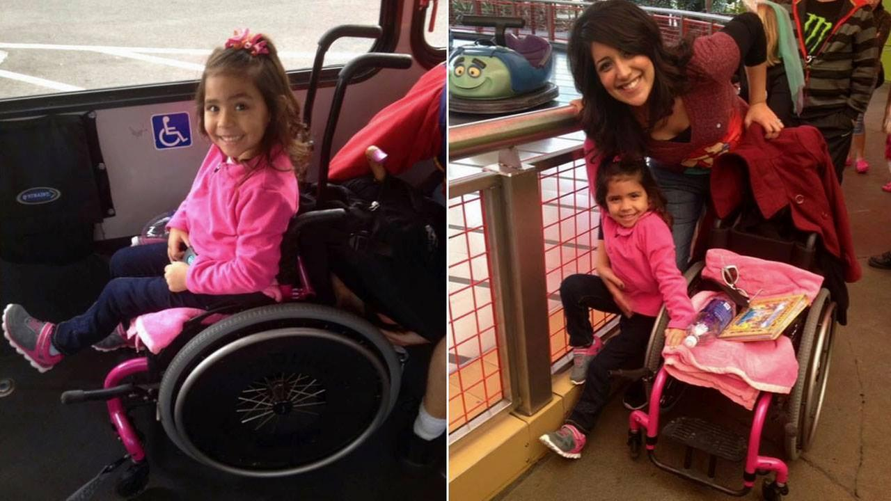 Ileeya Tavera, 5, and her mother Eileen Tavera are seen in photos above. Ileeyas custom built pink wheelchair was stolen from the familys truck.