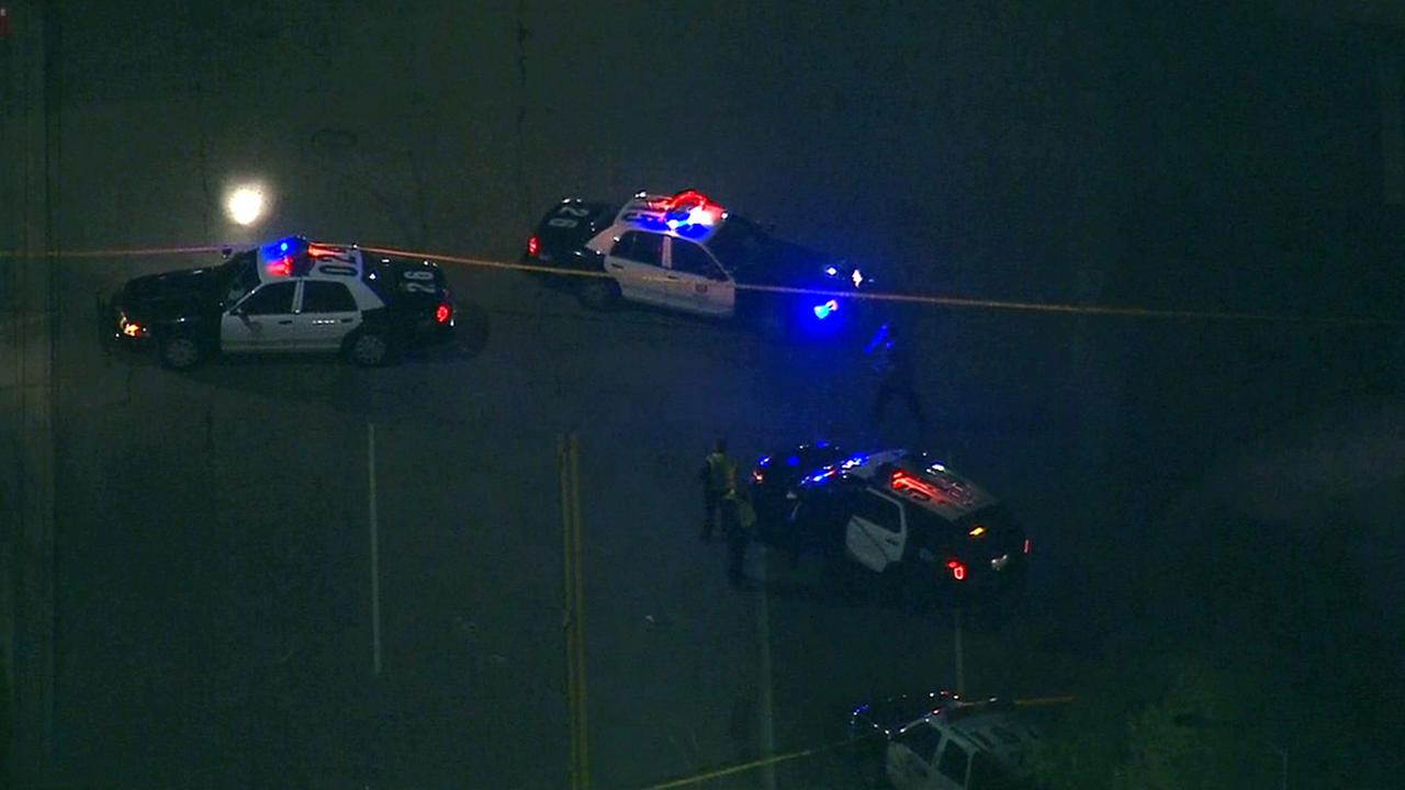 Los Angeles police respond to a fatal hit-and-run collision in North Hollywood on Friday, Feb. 27, 2015.