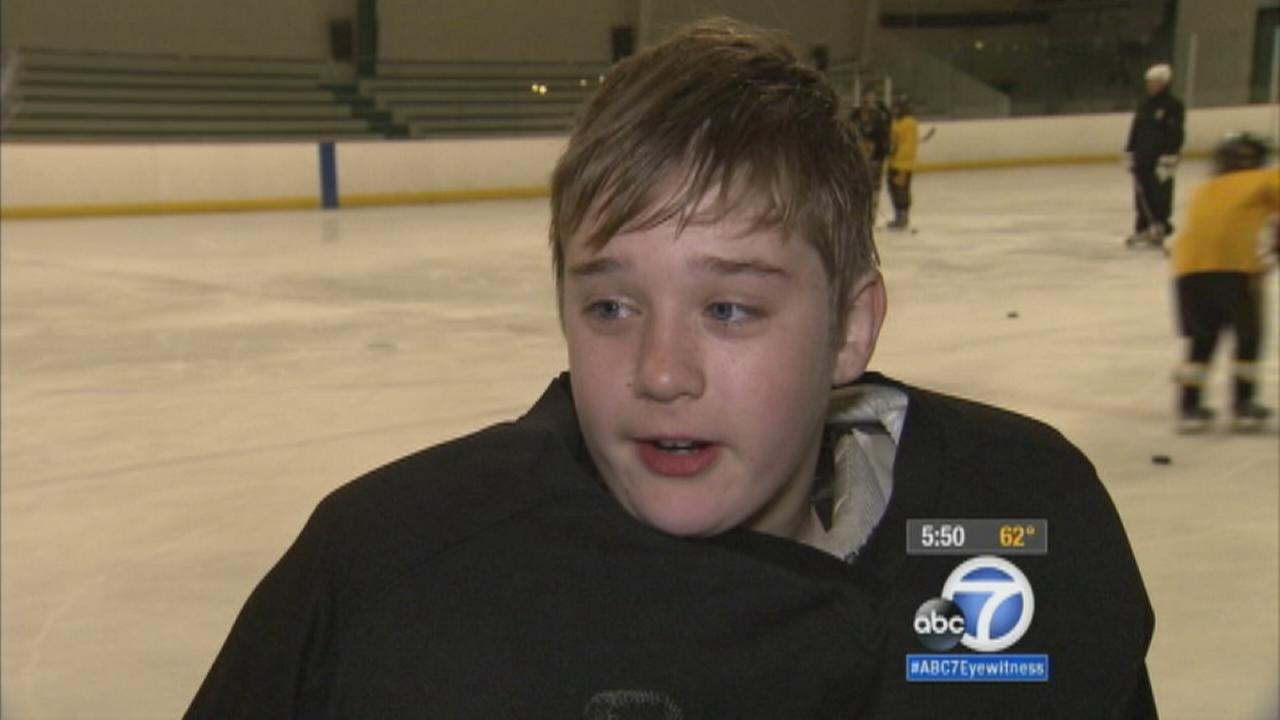 A Burbank Golden Bears team member talks about his teams donation to the City of Hope in Duarte for cancer research.