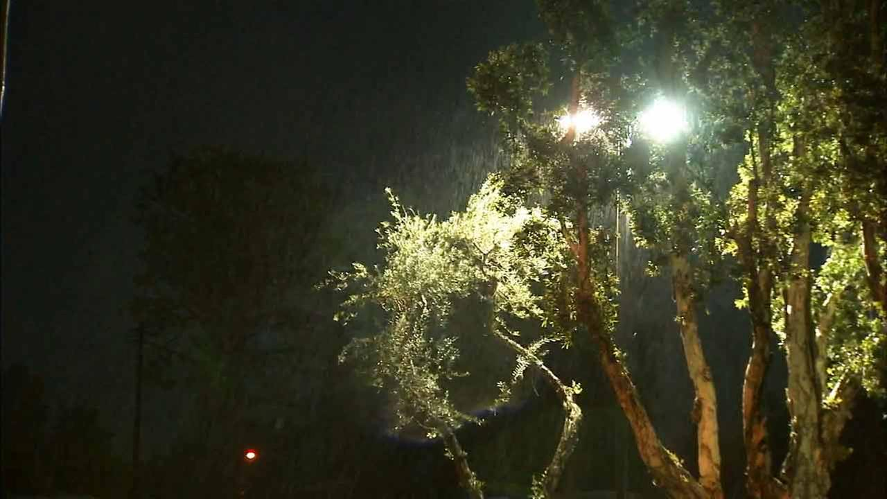 Rain began falling Saturday night in the Colby fire burn area in Glendora, where residents are on alert for possible mudslides.