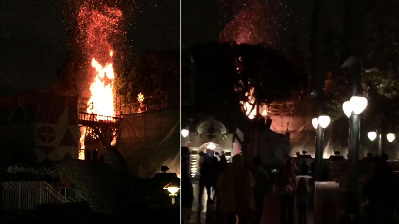 A small blaze was knocked down by firefighters at Disneyland Saturday, Feb. 28, 2015.