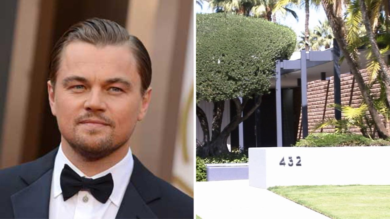 Leonardo DiCaprio (left). Leonardo DiCaprios Palm Springs home (right).