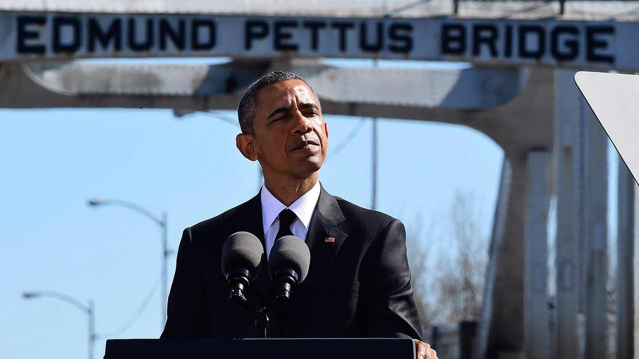 President Barack Obama speaks near the Edmund Pettus Bridge, Saturday, March 7, 2015, in Selma, Ala. Bill Frakes