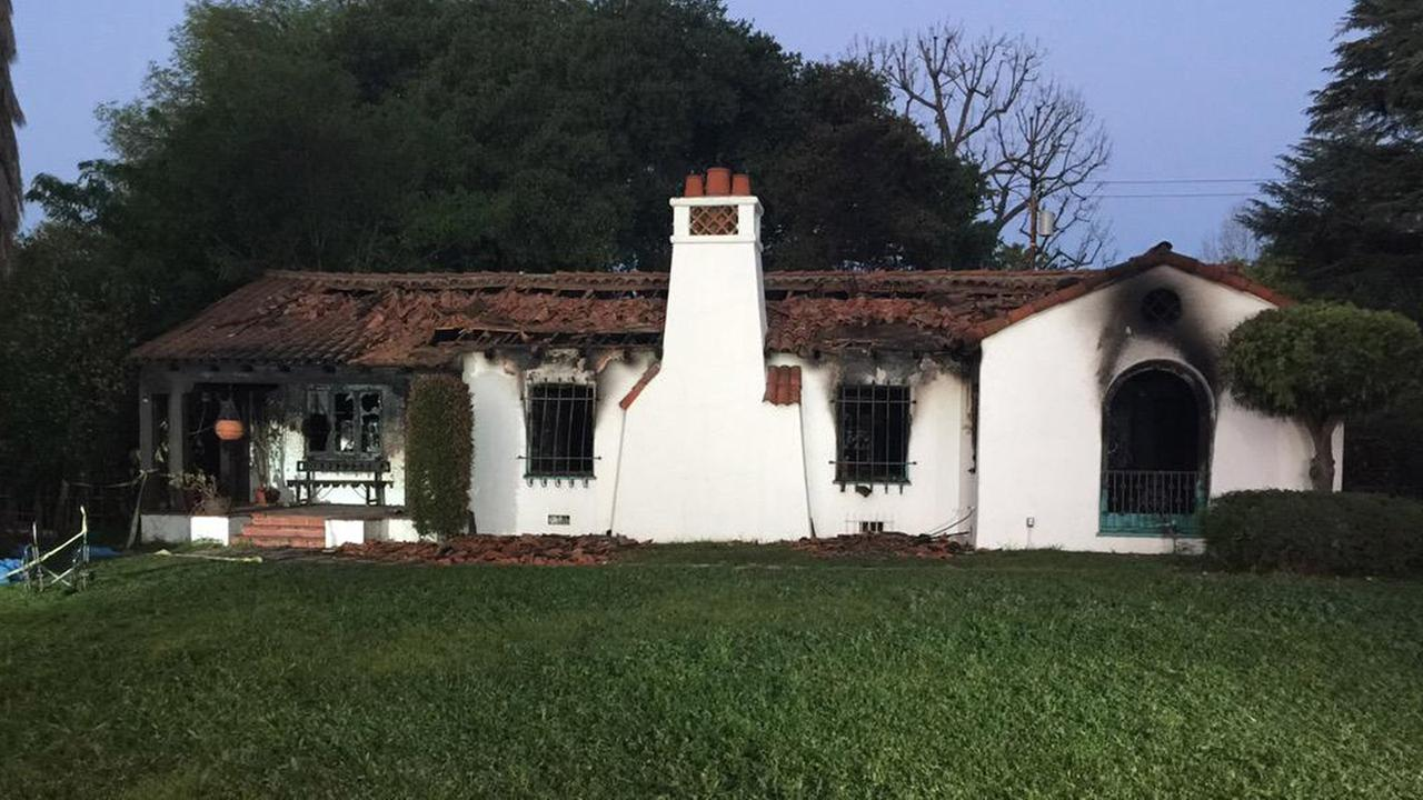 A blaze destroyed this Altadena home on Saturday, March 8, 2015. An elderly mother and her son were killed in the fire.