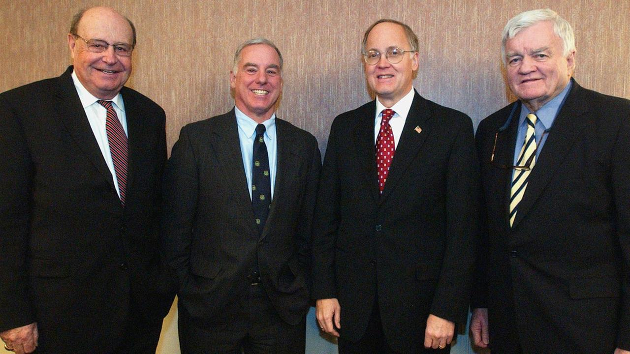 Gov. James Douglas, second from right, poses with former Vermont governors in Montpelier, Vt., Thursday, Jan. 6, 2005.