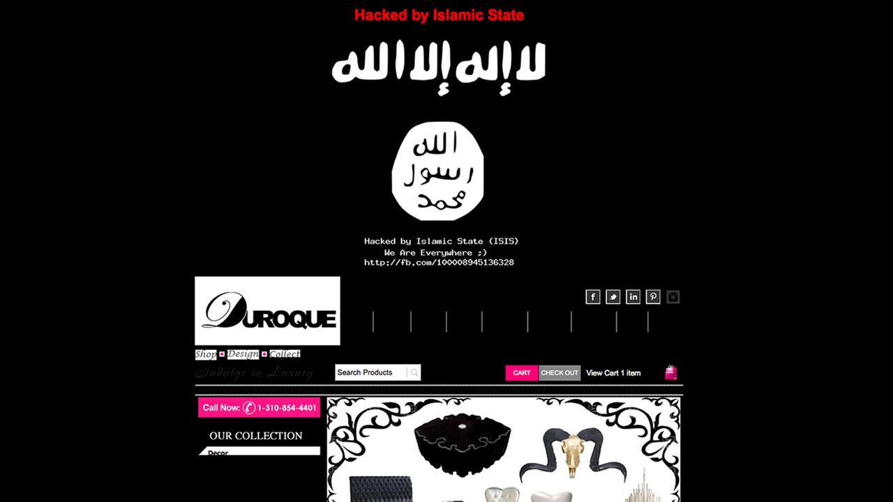 A screen capture shows Duroques website after it was hacked by a group claiming to be ISIS.