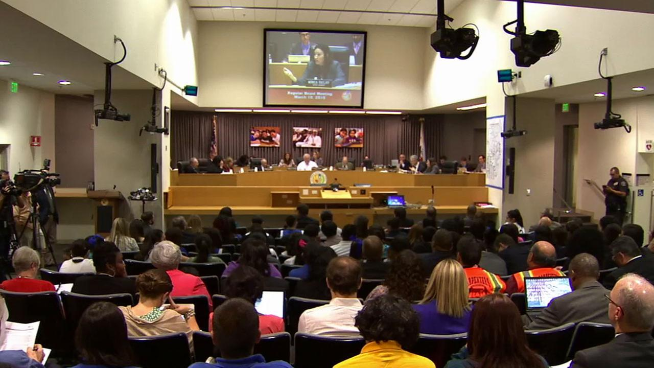 The Los Angeles Unified School District board voted Tuesday, March 10, 2015 to send pink slips to more than 2,400 employees.