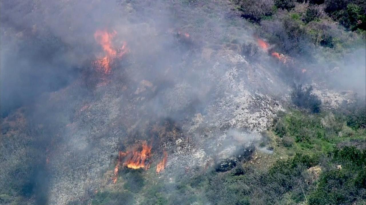 A small brush fire erupted in Malibu on Friday, March 13, 2015.