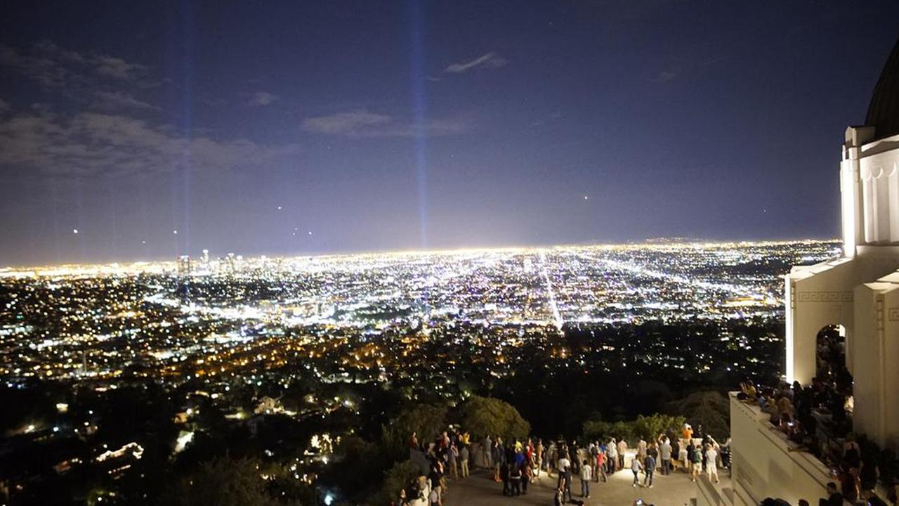Pillars of light mark the LA Marathon course in this photo from Griffith Observatory sent to us by SoCal 360 on Twitter using the #ABC7Eyewitness.