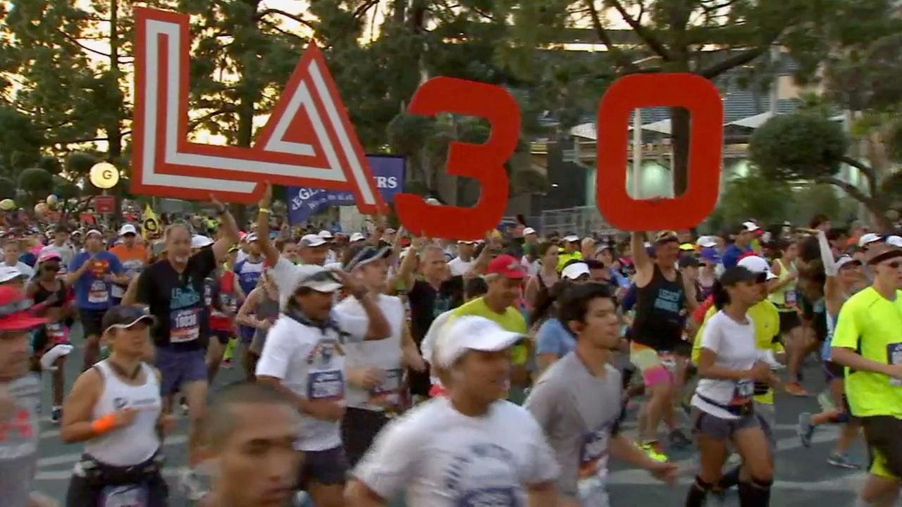 Runners participate in the 30th annual LA Marathon on Sunday, March 15, 2015.
