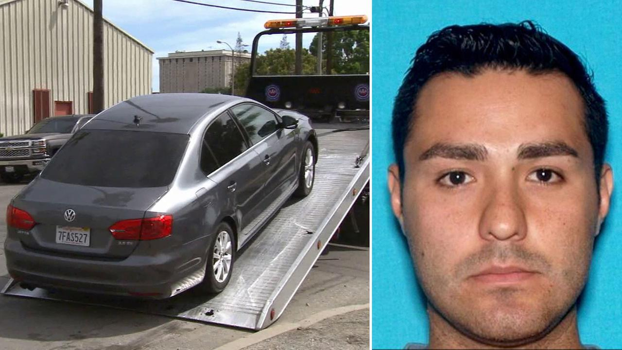 The car belonging to Henry Solis,  a person of interest in the murder of Salome Rodriguez Jr., was towed from an alley near Monterey Avenue and Main Street in Pomona.