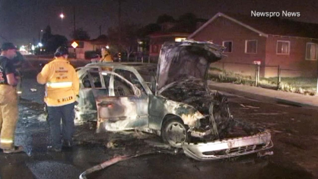 San Bernardino police are investigating a crash after a suspect threw an incendiary device into a vehicle in the 1000 block of West 2nd Street Friday, March 20, 2015.