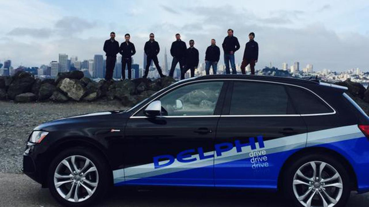 The Delphi driverless car began its long journey from San Francisco to New York on Sunday, March 22, 2015.