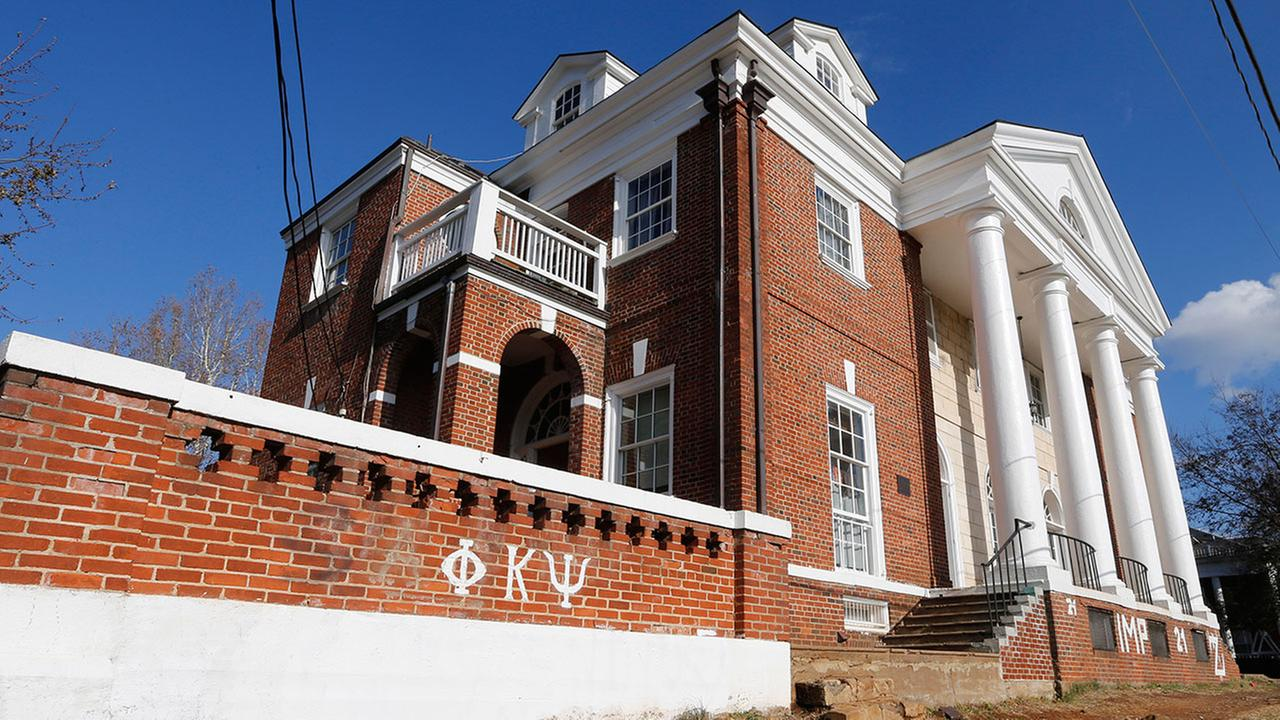 This Nov. 24, 2014 file photo shows the Phi Kappa Psi fraternity house at the University of Virginia in Charlottesville, Va.