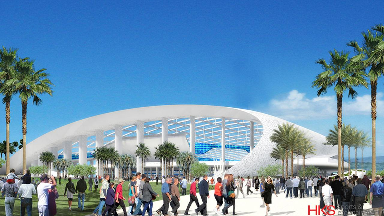 A rendering of St. Louis Rams owner Stan Kroenkes proposed $1.86-billion venue at the former Hollywood Park racetrack site in Inglewood.