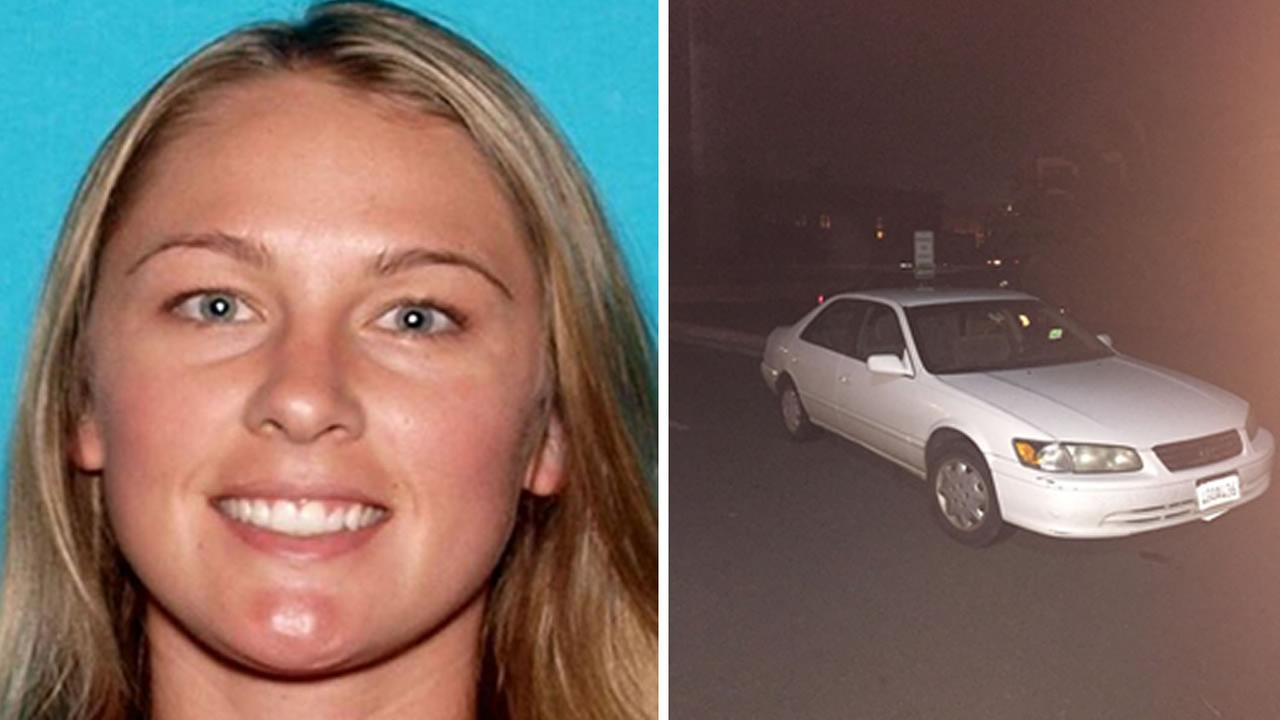 Denise Huskins, 29, is seen in this photo provided by the DMV (left). Her Toyota Camry was found a block away from where she was allegedly taken in Vallejo (right).