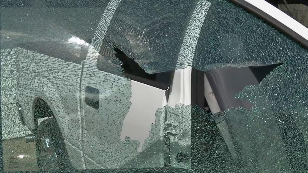 Costa Mesa police are searching for several suspects who shattered the windows of more than 30 vehicles with a BB gun Tuesday, March 24, 2015.