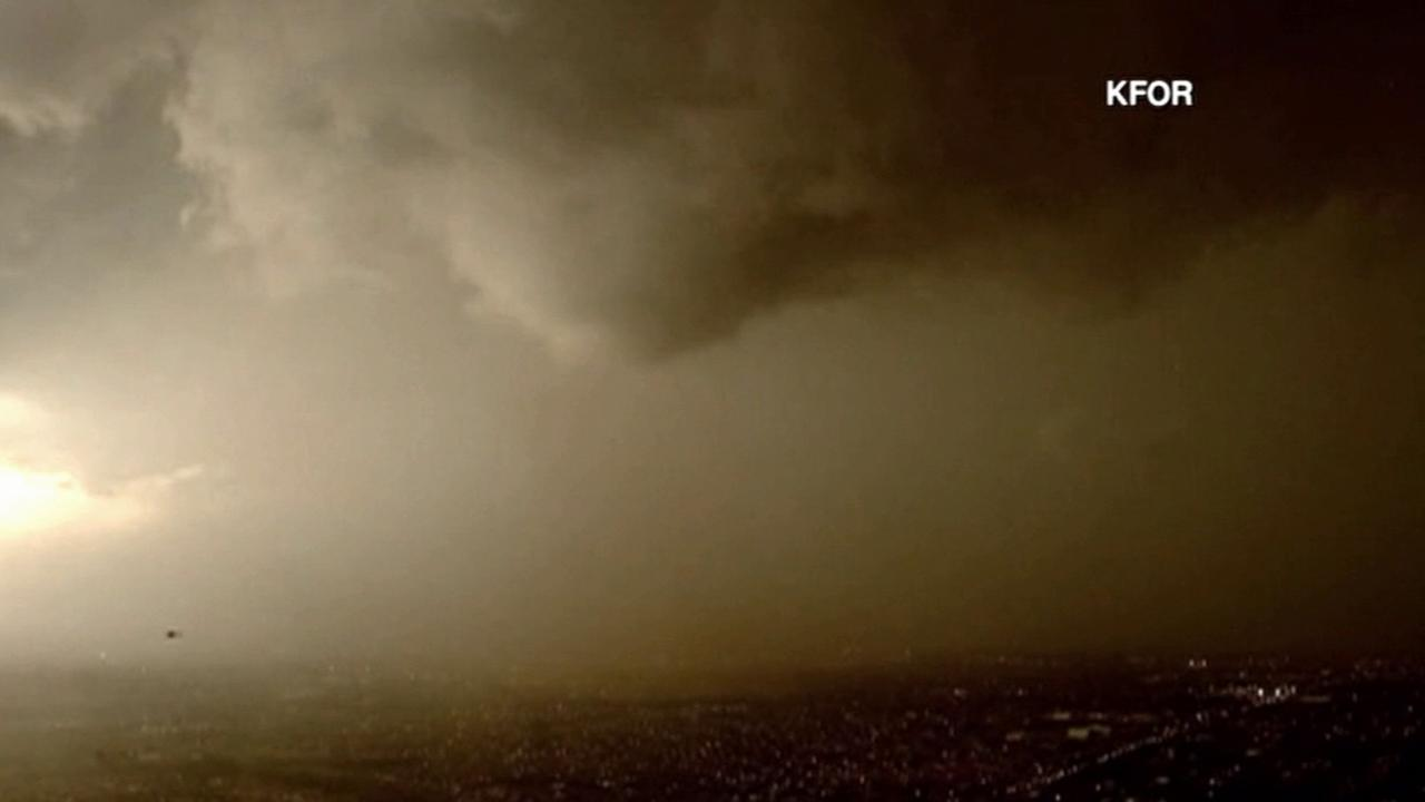Ominous clouds move through Oklahoma during tornado warnings on Wednesday, March 25, 2015.