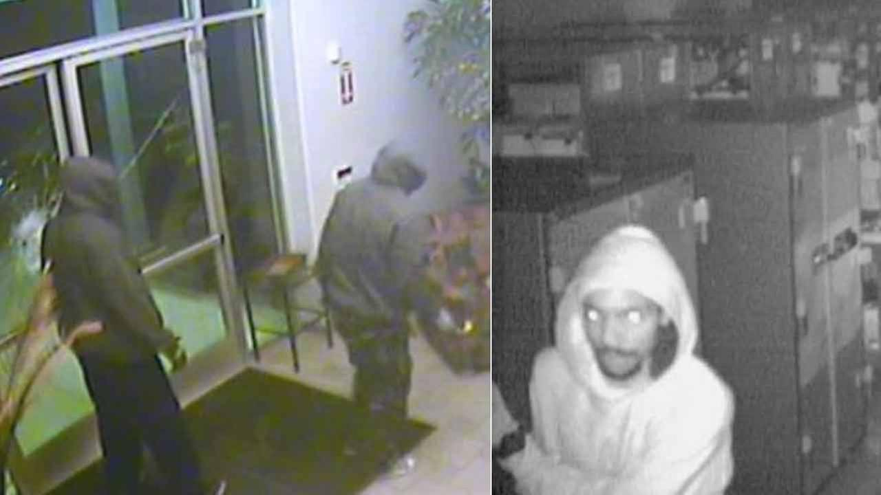 Surveillance images show suspects wanted for burglarizing the Accelerated Memory Production store in Santa Ana on Sunday, March 22, 2015.