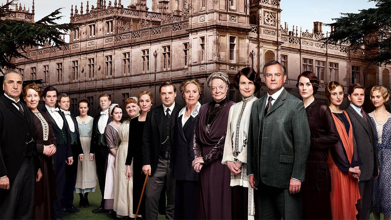 The cast of Downton Abbey appears in a promotional photo for the British period drama.