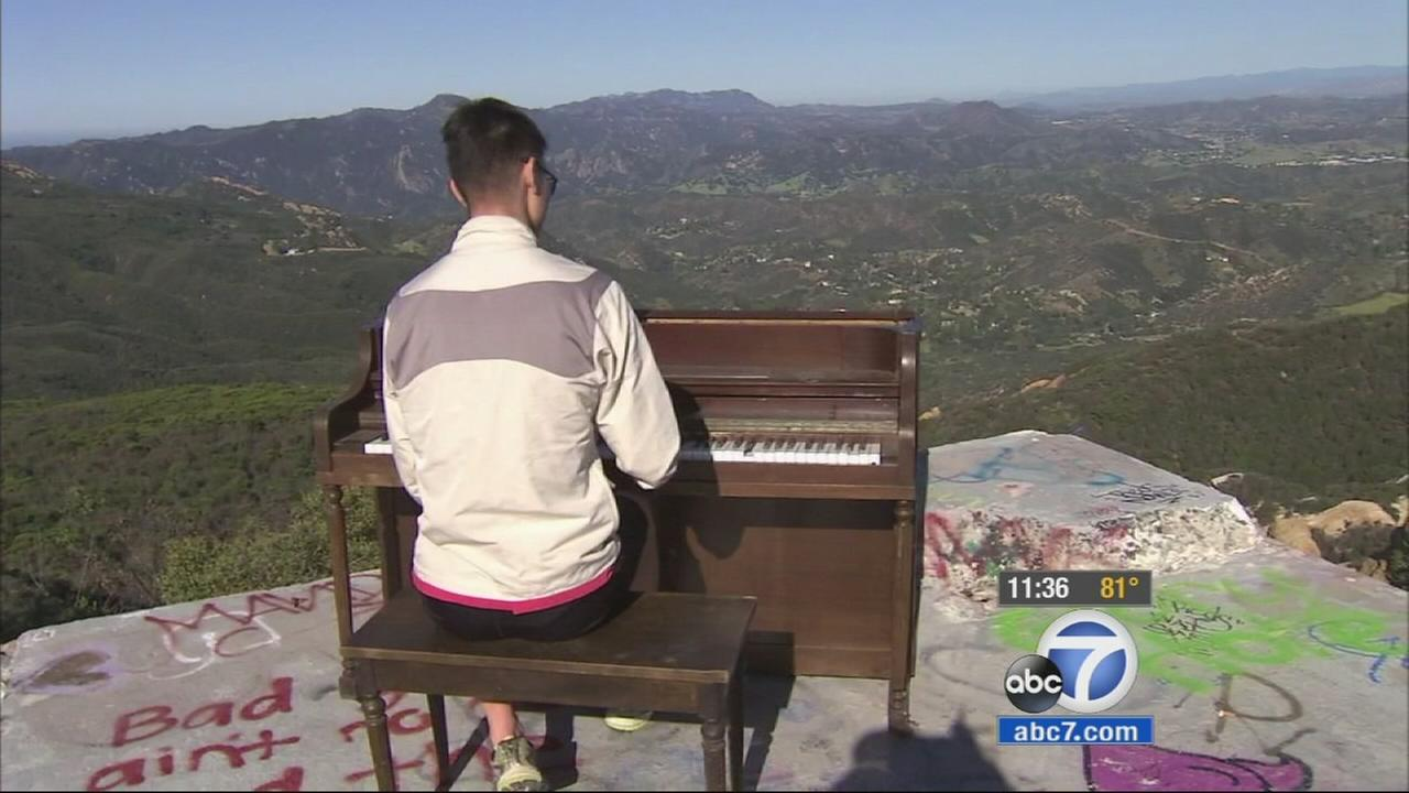 A piano that seemingly appeared out of nowhere atop a rugged hillside in the Santa Monica Mountains National Recreation Area was brought there for a music video shoot.