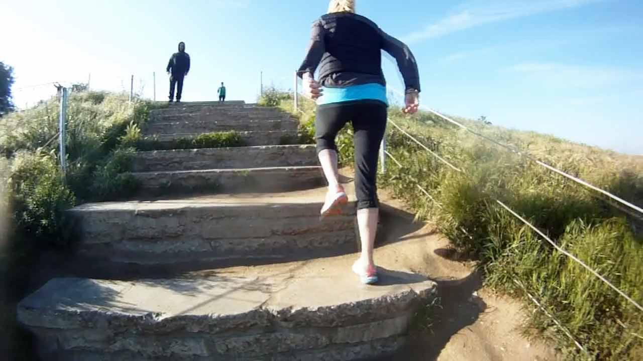 A woman climbs the Baldwin Hills stairs in Culver City in this undated file image.