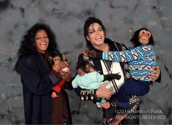 <div class='meta'><div class='origin-logo' data-origin='none'></div><span class='caption-text' data-credit='Harrison Funk/ALL RIGHTS RESERVED'>Diana Ross joins Michael Jackson for a picture with Bubbles.</span></div>