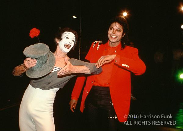<div class='meta'><div class='origin-logo' data-origin='none'></div><span class='caption-text' data-credit='Harrison Funk/ALL RIGHTS RESERVED'>While in London, Michael Jackson attends an evening with Marcel Marceau at Sadler's Wells Theatre.</span></div>