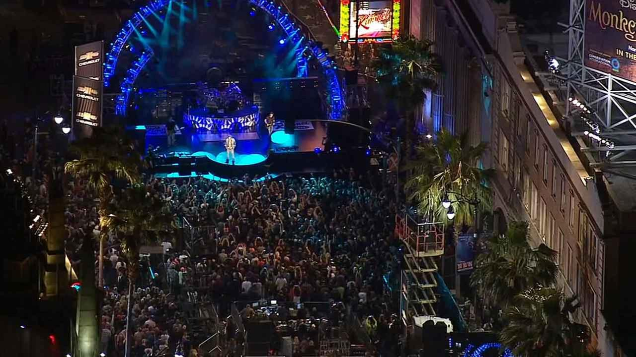 Fans gather for a special Van Halen concert for Jimmy Kimmel Live on Monday, March 30, 2015.