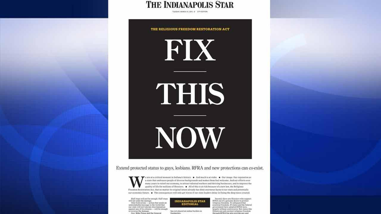 The front page of The Indianapolis Star for Tuesday, March 31, 2015.