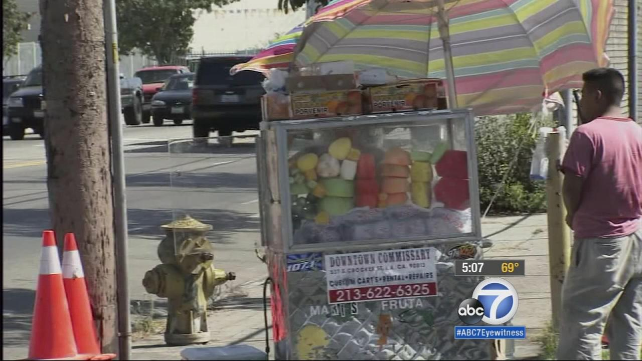 Dozens of street vendors protested outside the LAPD headquarters in downtown Los Angeles Tuesday for a moratorium on enforcement against street sales of food and wares.