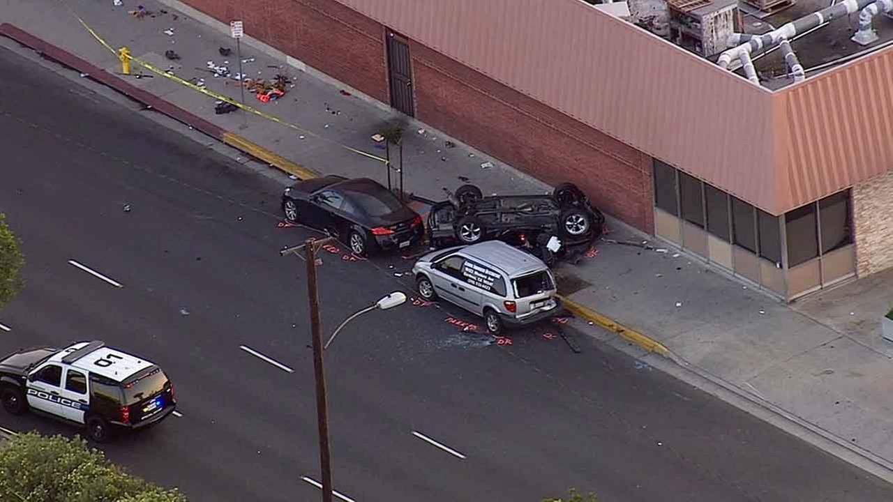 One person was killed in a street racing crash near 155th Street and Vermont Avenue in Gardena Tuesday, March 31, 2015.
