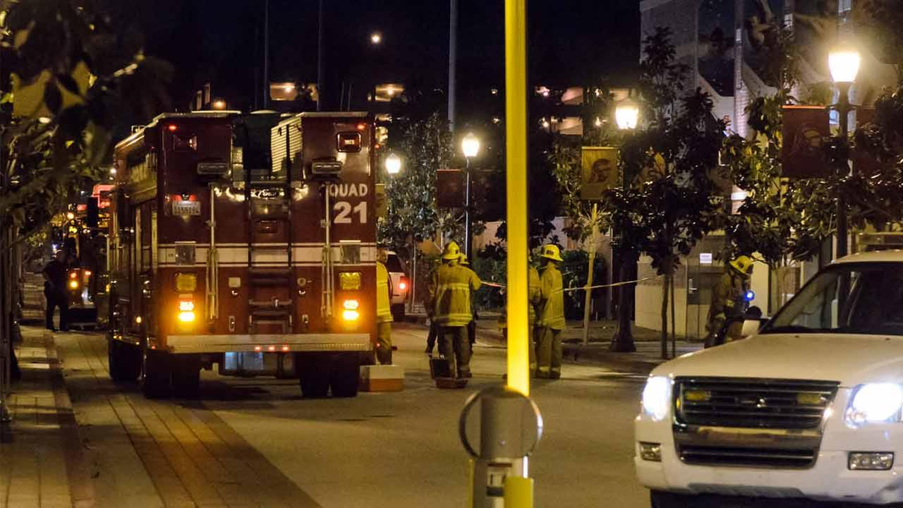 Firefighters on scene of a hazardous materials spill at the Uytengsu Aquatics Center at the University of Southern California.