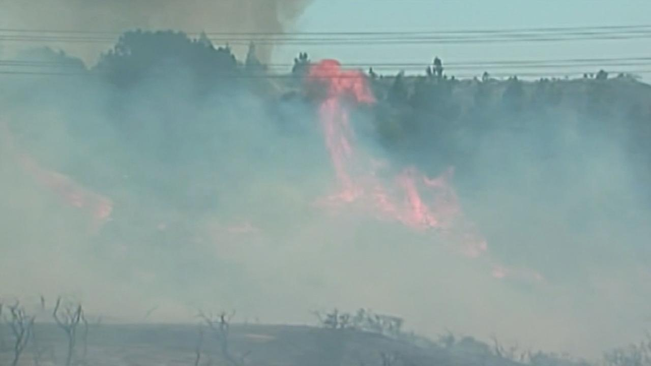 Brush fire in Carlsbad, California, Wednesday, May 14, 2014.