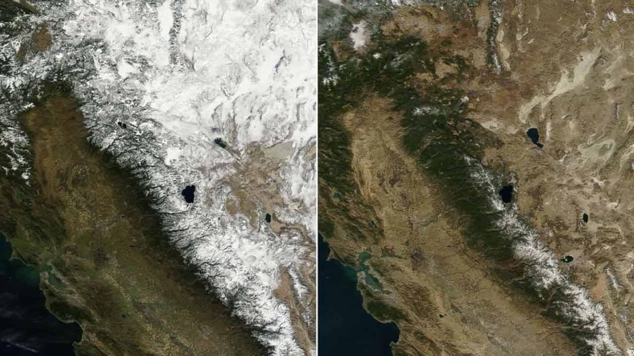 NASAs Terra satellite images made Jan. 18, 2013 and Jan. 18, 2014 illustrate Californias depleted snowpack on the Sierra Nevada, Coast Range and Cascade Mountains